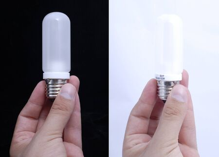 Bulbs between the fingers on the black and white backgrounds