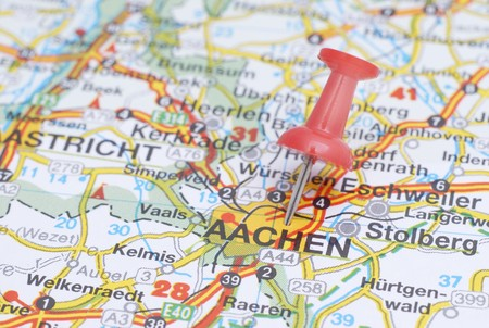 Push pin pointing Aachen on the map of Germany Stock Photo