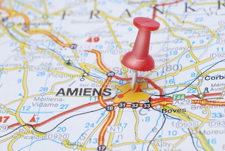Map of Amiens with a red push pin
