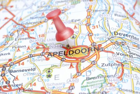 Map of Apeldoorf with a red push pin