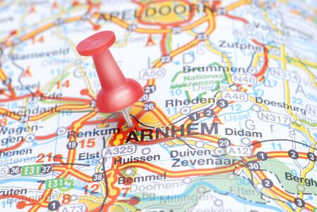 Map of Arnhem with a red push pin Stock Photo