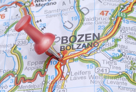Map of Bolzano Bozen with a red push pin Stock Photo