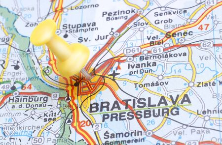 Map of Bratislava with a yellow push pin Stock Photo