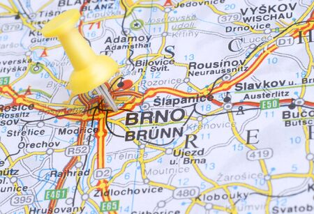 Map of Brno with a yellow push pin
