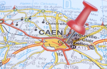 Map of Caen with a red push pin