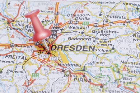 Push pin pointing Dresden on the map of Germany