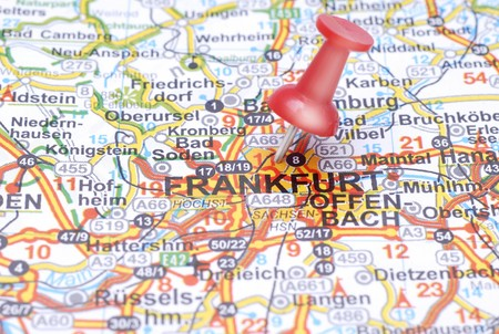 Push pin pointing Frankfurt on the map of Germany photo