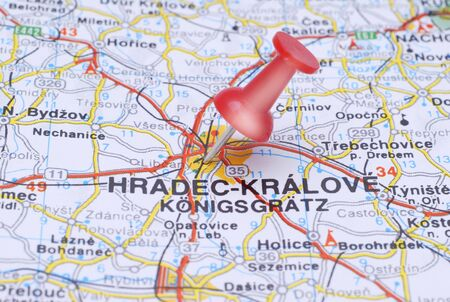 Push pin pointing Hradec Kralove on the map of Czech