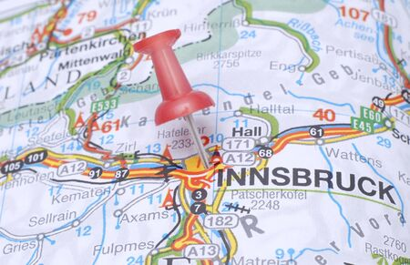 Destination Innsbruck pointed on the map Stock Photo
