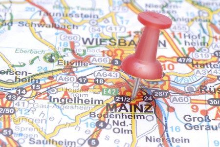 Push pin pointing Mainz on the map of Germany