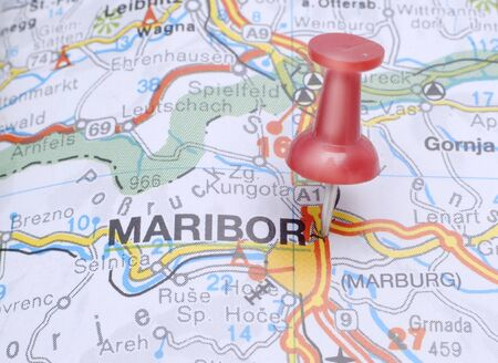 Map of Maribor with a red push pin photo