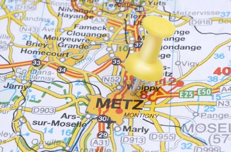 Push pin pointing Metz on the map of France Stock Photo