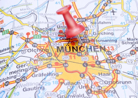 Destination Munich pointed on the map