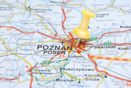 Poznan, Poland on a map pinpointed by a yellow thumb tack Stock Photo