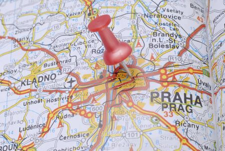 Roadmap with a pin marking a location of the city of Prague Stock Photo