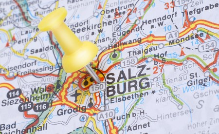 Salzburg, Austria, Europe. Push pin on an old map showing travel destination. Selective focus. Stock Photo