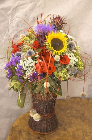 An elaborate flower arrangement--ikebana Stock Photo