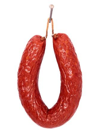 Sausage circle hanging on a nail