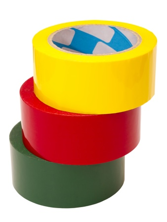 a stack of colored tape in large rolls photo