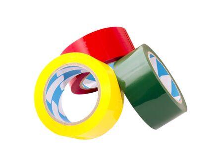 een stapel van gekleurde band op grote rollen Stockfoto