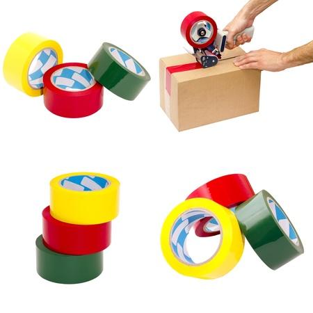 dispense: conjunto de cuatro im�genes de materiales de embalaje sobre un fondo blanco Foto de archivo