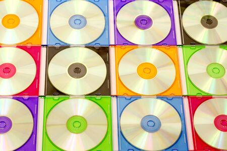 background of the CD in colorful boxes photo