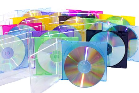 CD in the disclosed colored boxes set vertically  photo