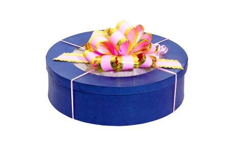 round blue gift box with pink bow Stock Photo - 9484284