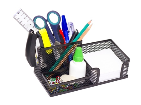 black iron stand with clerical office supplies