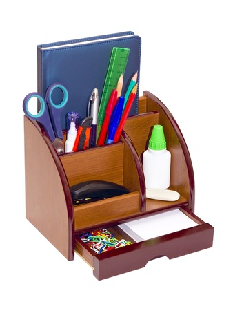 Office wooden stand for pens and pencils  photo