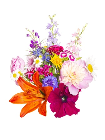 a bouquet of summer flowers on a white background photo