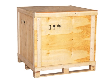 large wooden box on a white background photo