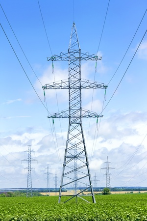 several transmission lines in the middle of a  field photo