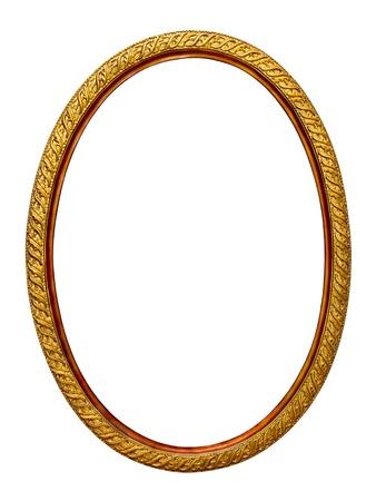ovalo: patr�n oro marco para una fotograf�a sobre un fondo blanco Foto de archivo