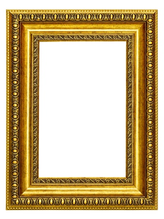 gold-patterned frame for a picture on a white background photo