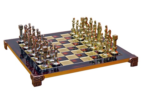 lacquered: cast iron lacquered chess board isolated on white background