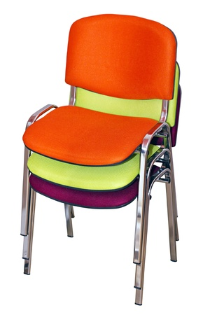 three chairs for visitors, put each other on a white background photo