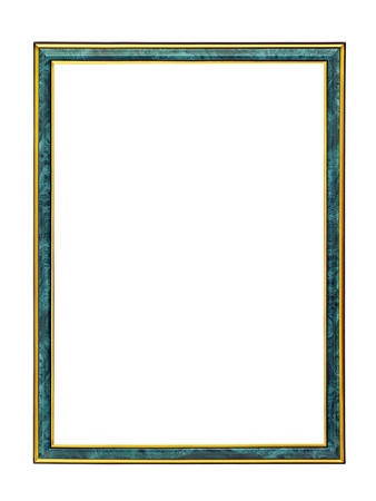 Malachite frame with gold trim for painting isolated on a white background