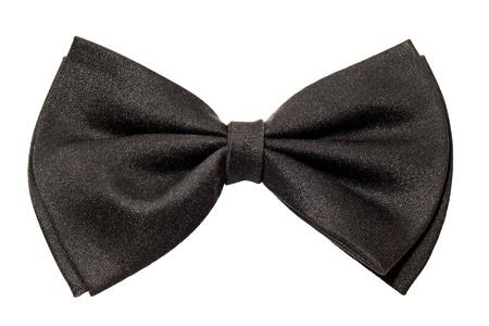 stropdas: man zwart strikje geïsoleerd op een witte achtergrond Stockfoto