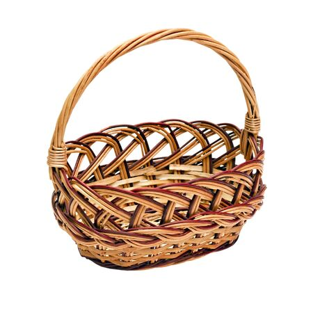 wickerwork basket with handle isolated on white background Stock Photo - 10798629