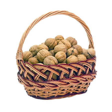 full willow: wicker basket with walnuts isolated on a white background
