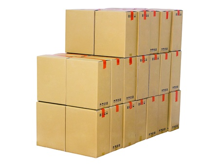 stack of cardboard boxes isolated on white background Stock Photo