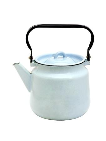 blue enamelled iron teapot isolated on white background photo