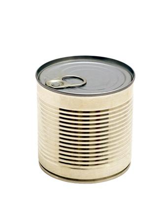 Tin voedsel kan van voedsel geïsoleerd op een witte achtergrond Stockfoto