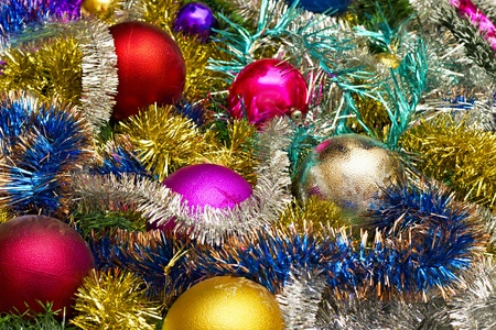 New background of Christmas decorations and tinsel Stock Photo - 11193563
