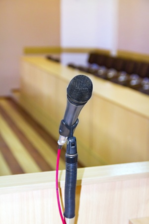 microphone at the podium to speak at the conference hall photo