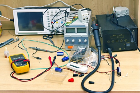 workplace repairman Radio Equipment and Electronics Stock Photo