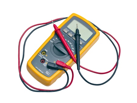 Digital yellow multimeter isolated on white background