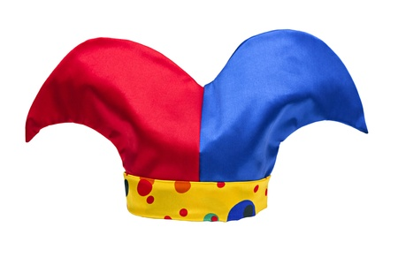 multi-colored jester hat isolated on white background photo