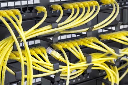 Patch Panel server rack with yellow cords
